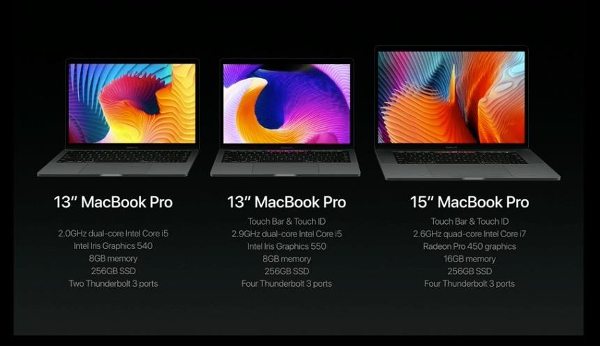 MacBook Pro3種類を並べた画像