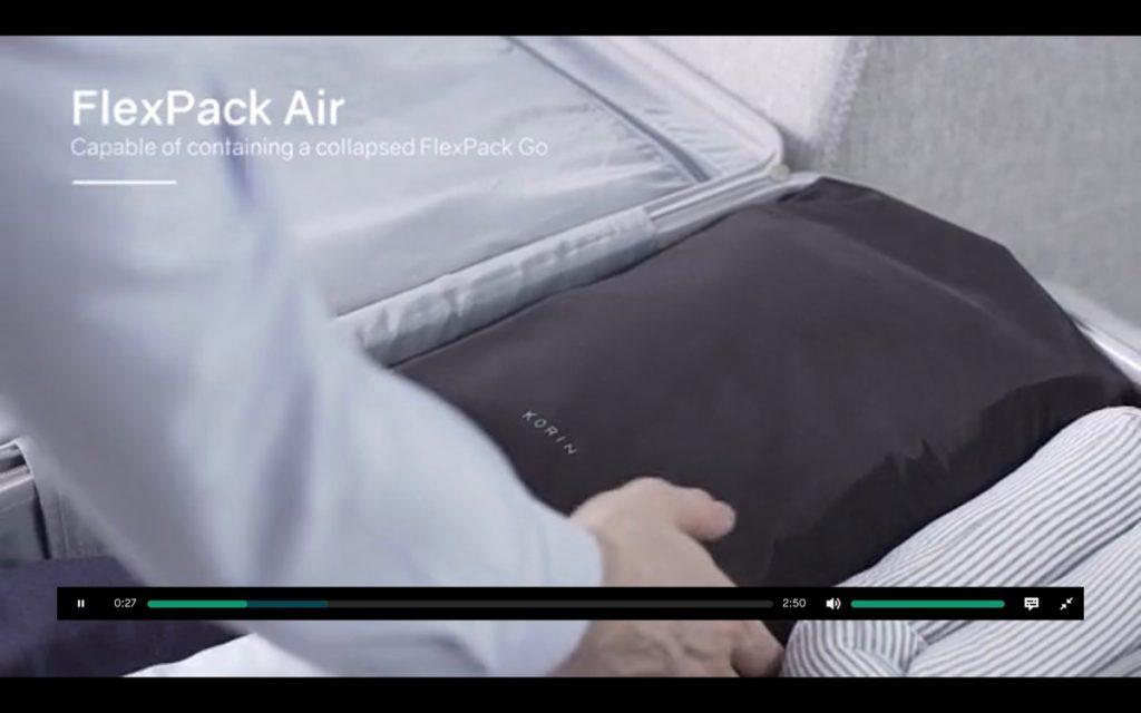 FlexPack Air バッグに入っているところ